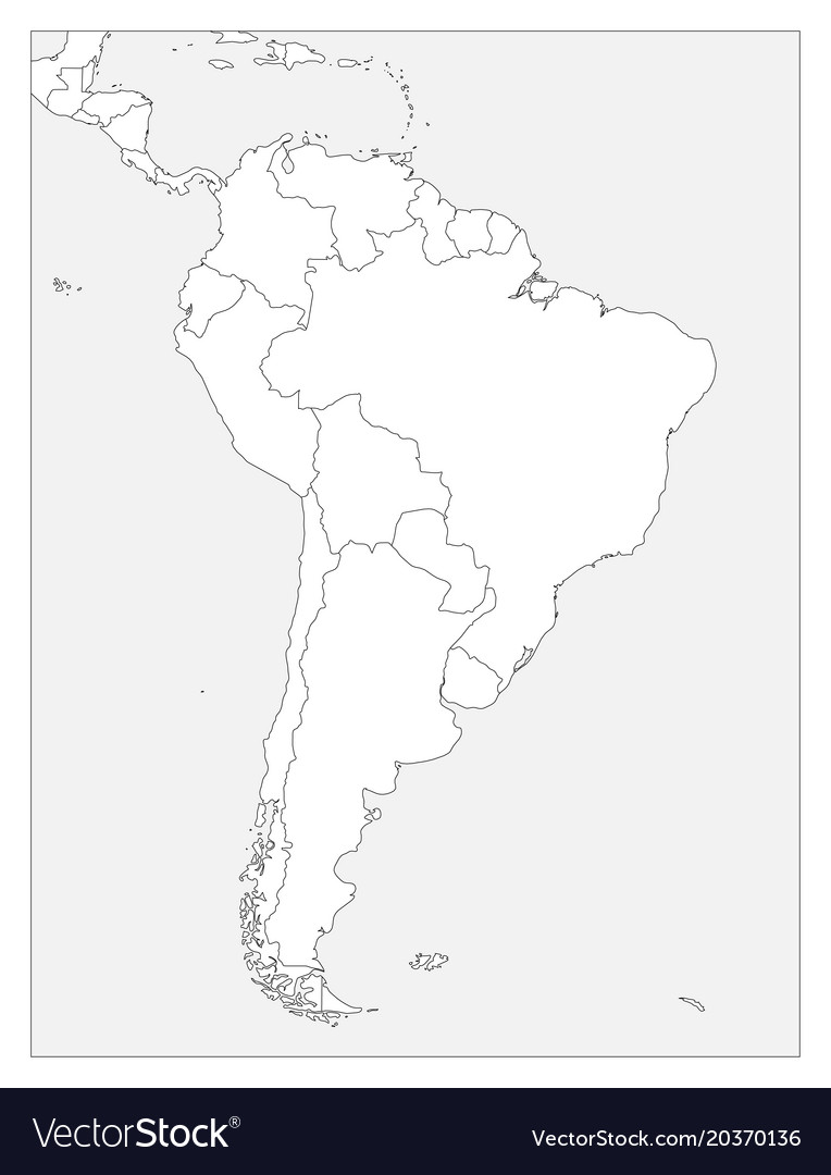 Blank political map of south america simple flat
