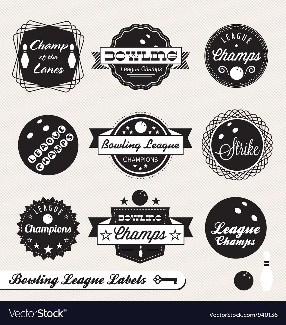 Bowling League Champs Labels vector image