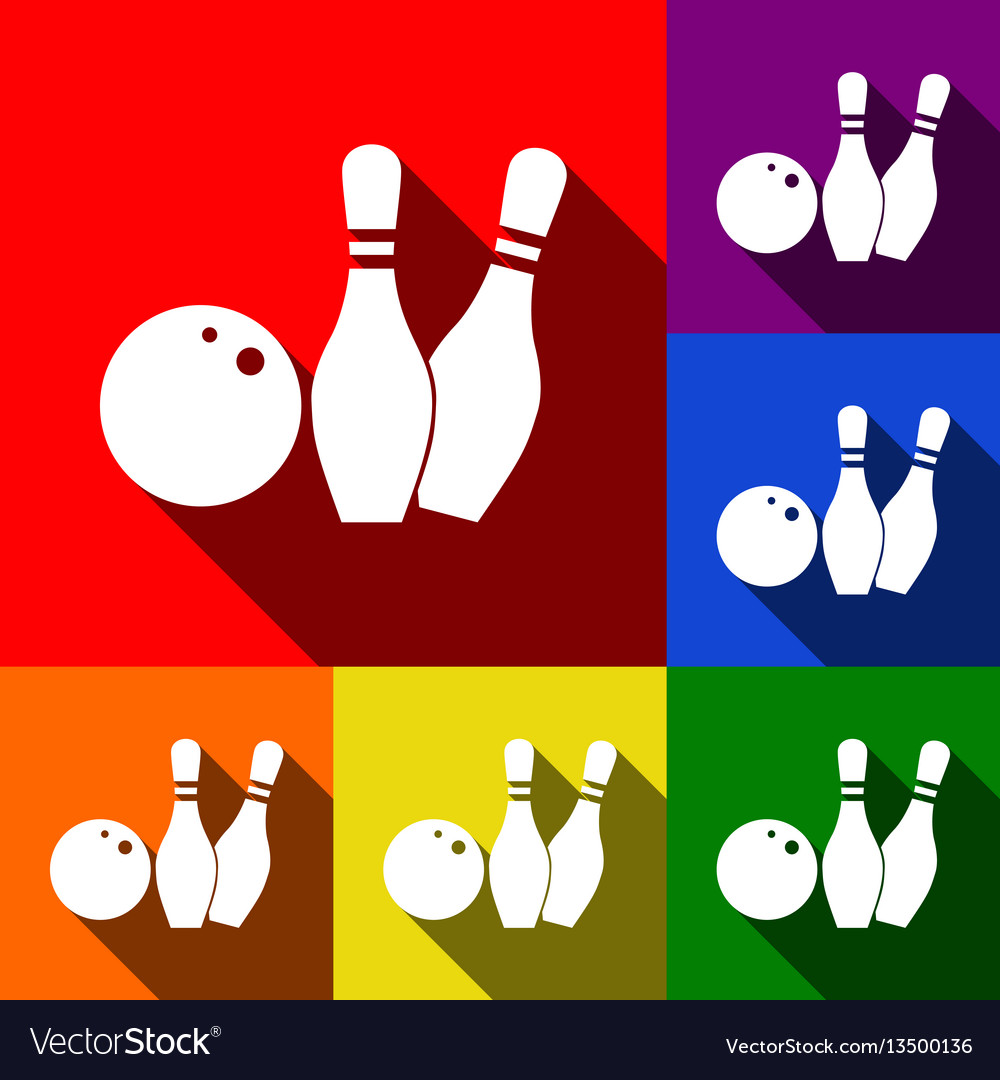 Bowling sign set of icons