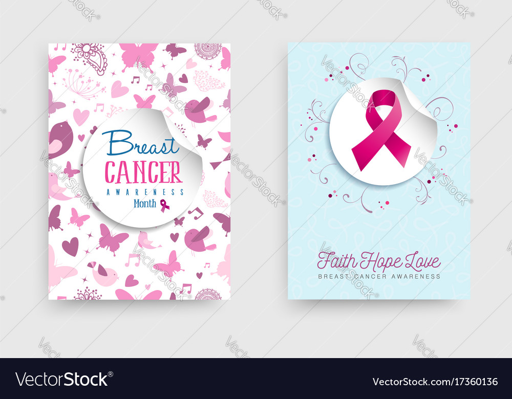 Breast cancer awareness pink ribbon poster set vector image