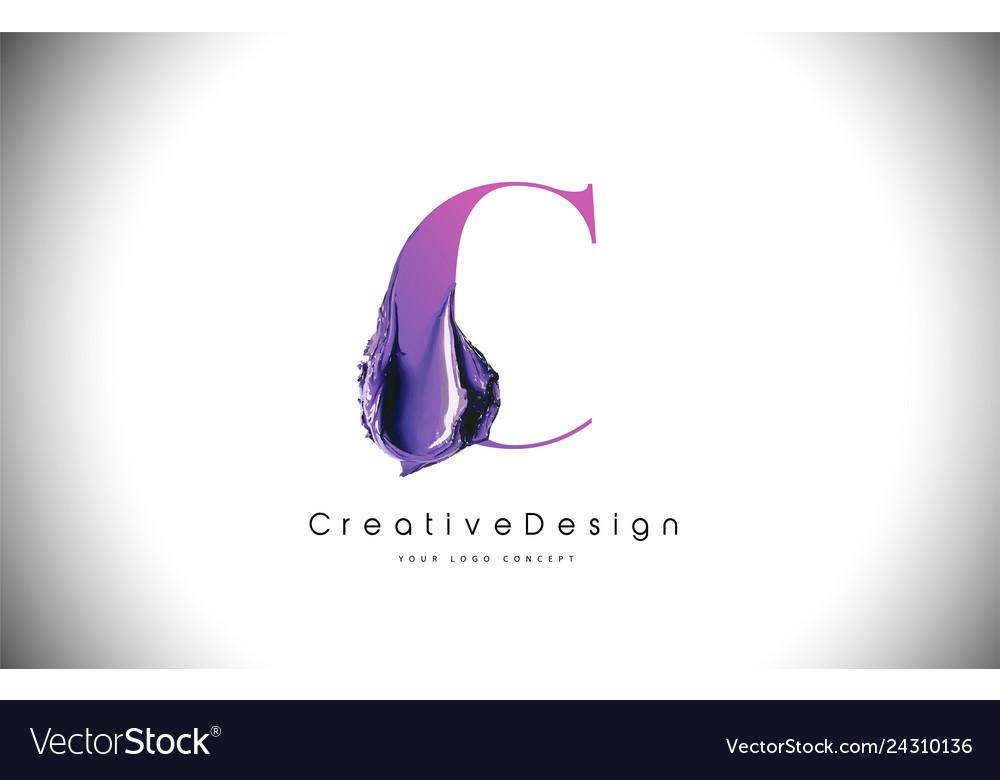 C letter design brush paint stroke purple c