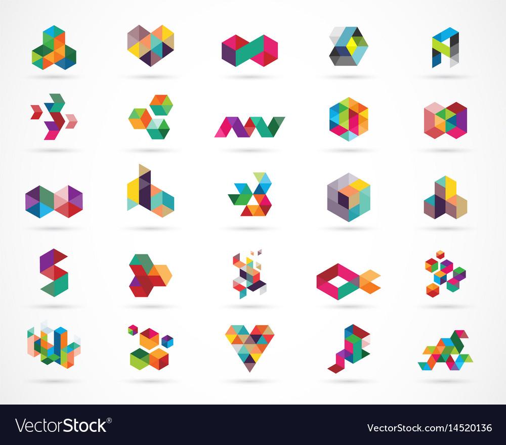 Creative digital colorful logo collection vector image