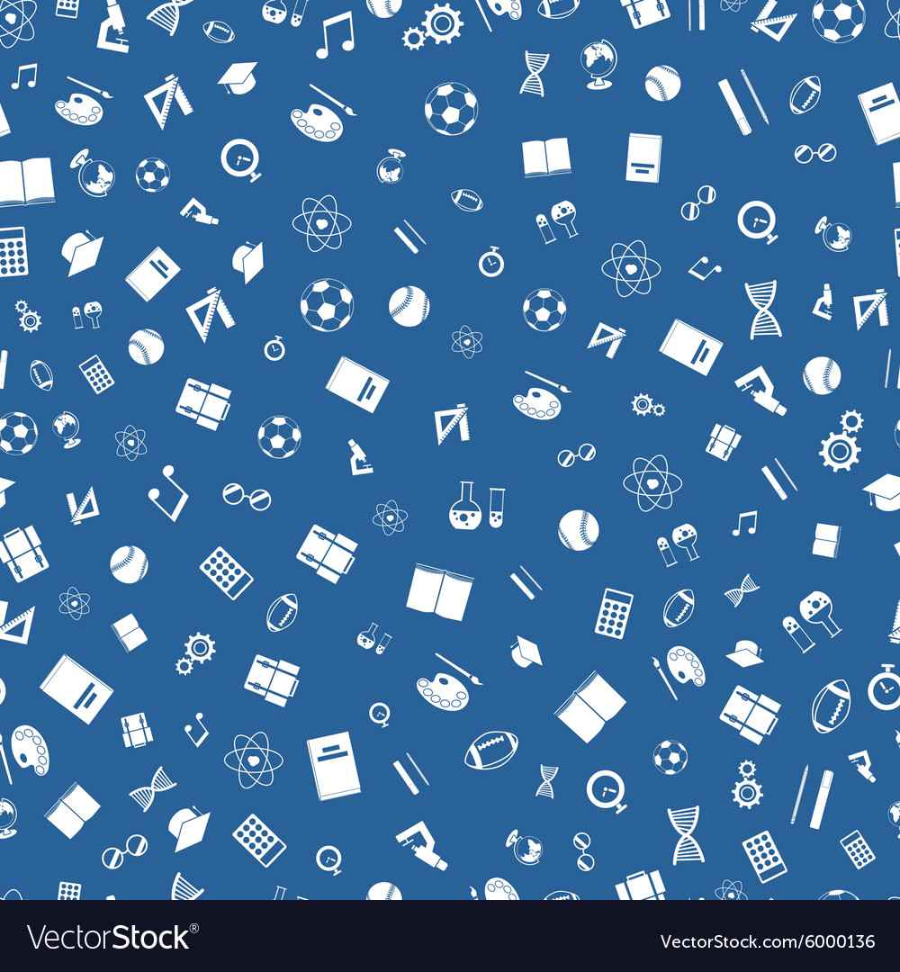 Education white icons on blue background seamless