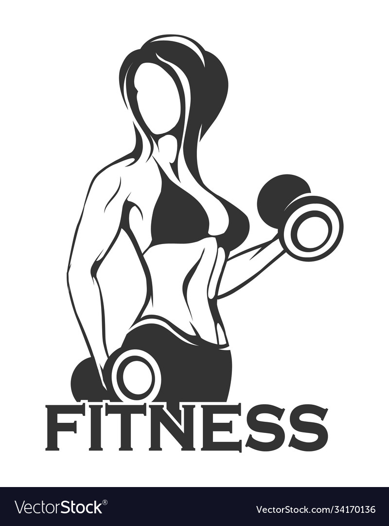 Fitness emblem with girl training dumbbell