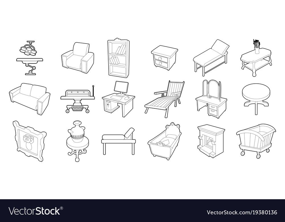 Furniture icon set outline style
