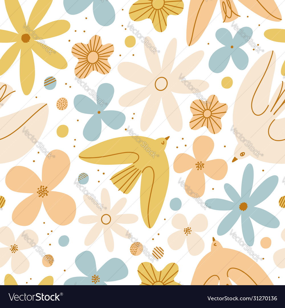 Gentle birds and flowers seamless pattern