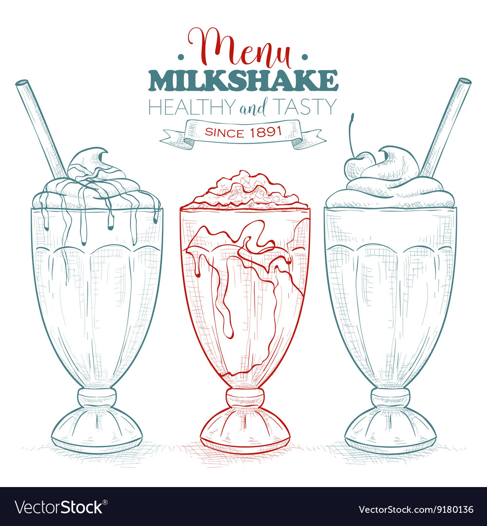 Scetch milkshake menu vector image
