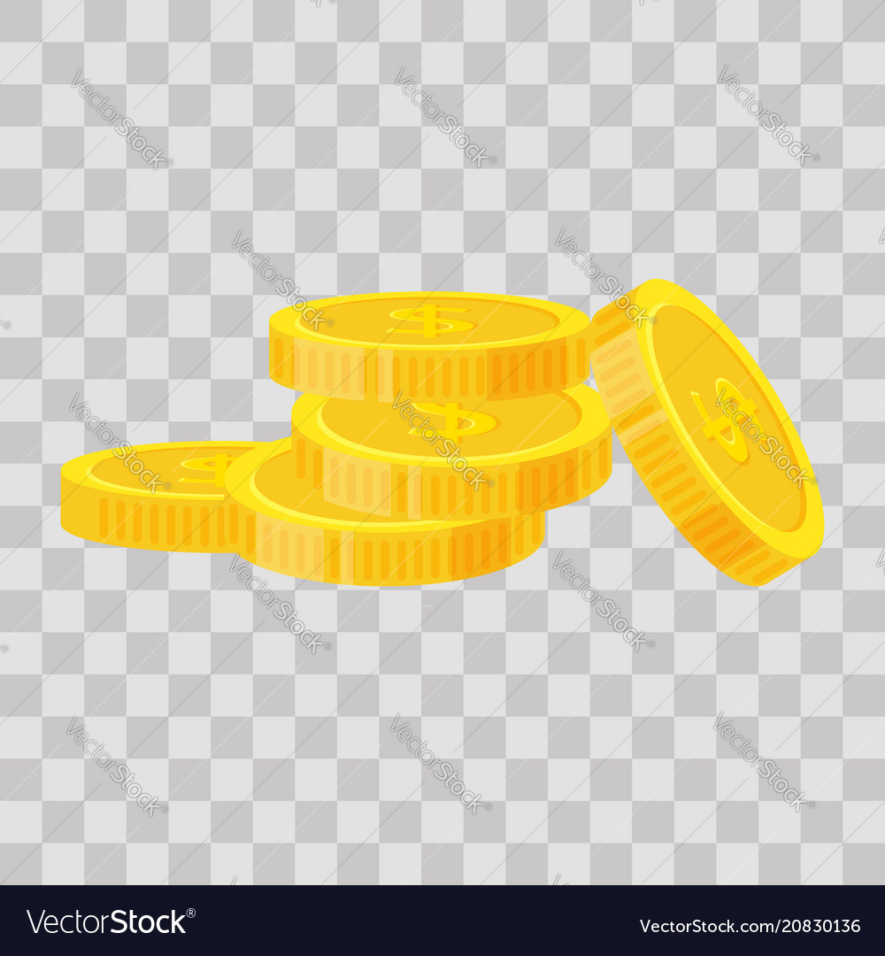 Set coins stack icon flat