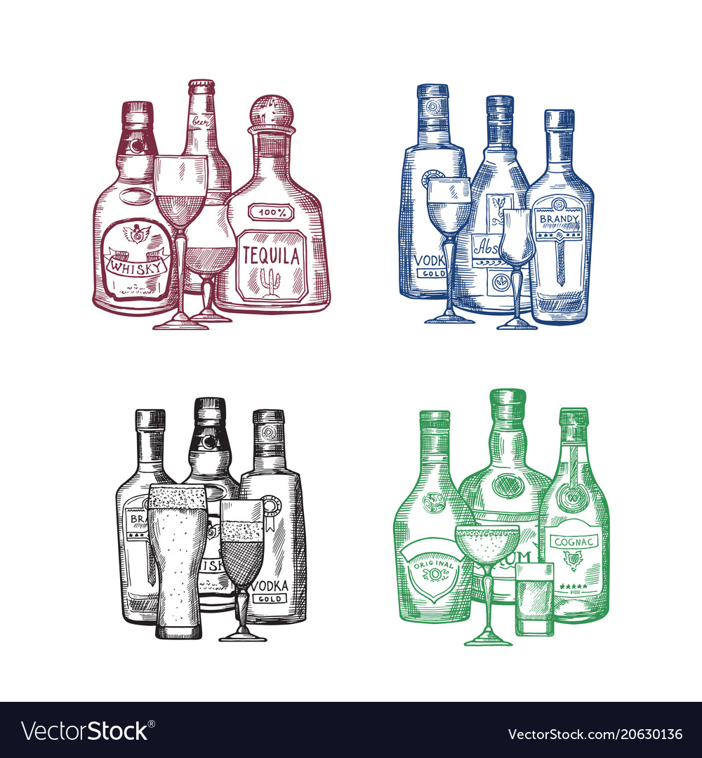 Set of hand drawn alcohol drink bottles and