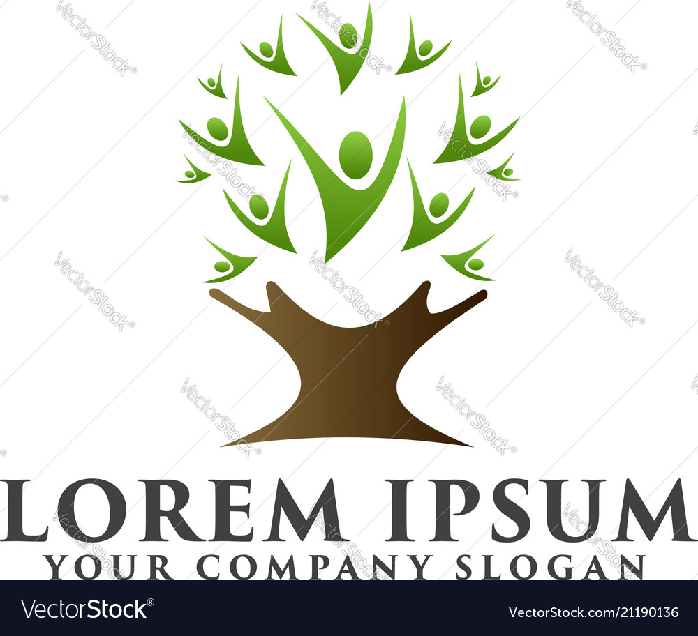 Tree people logo natural logos concept design vector image