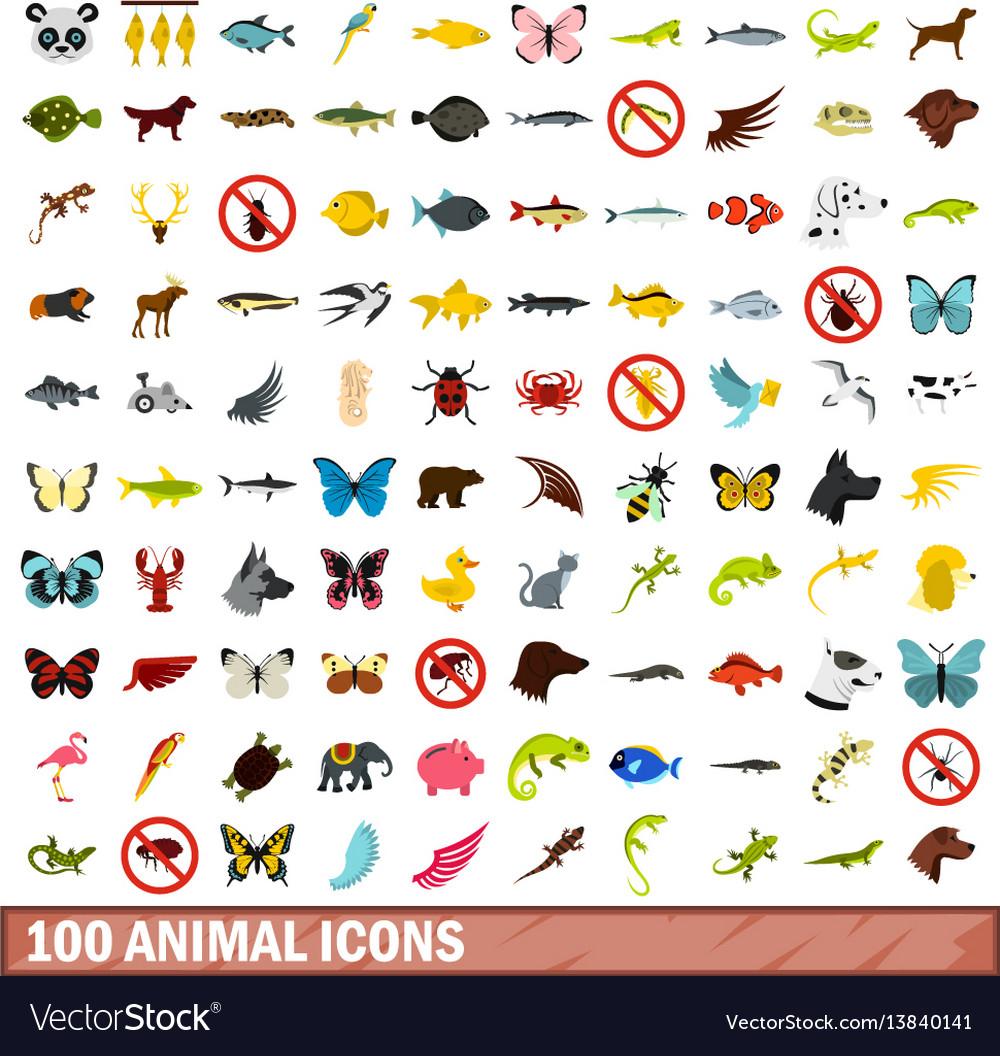 100 animal icons set flat style