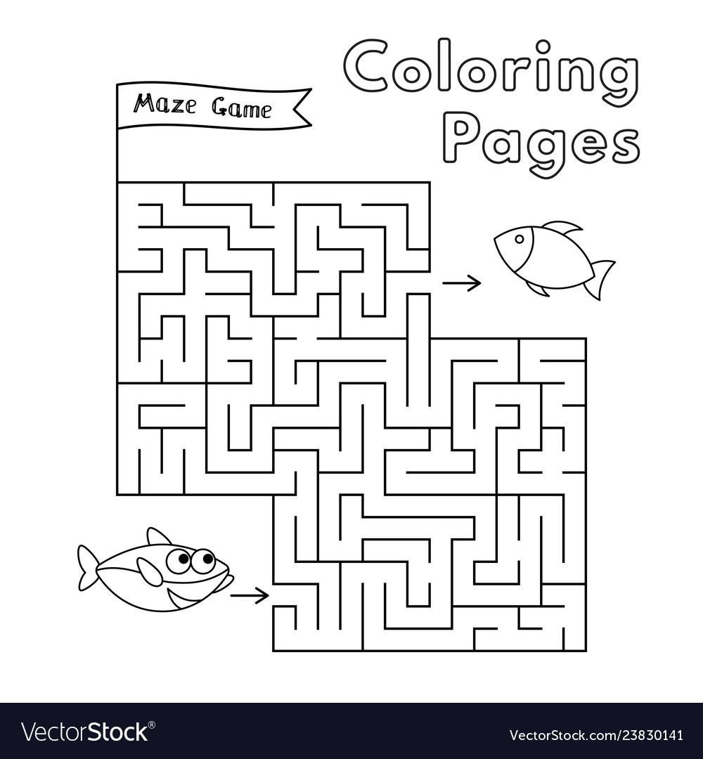 Cartoon Shark Coloring Book Maze Game