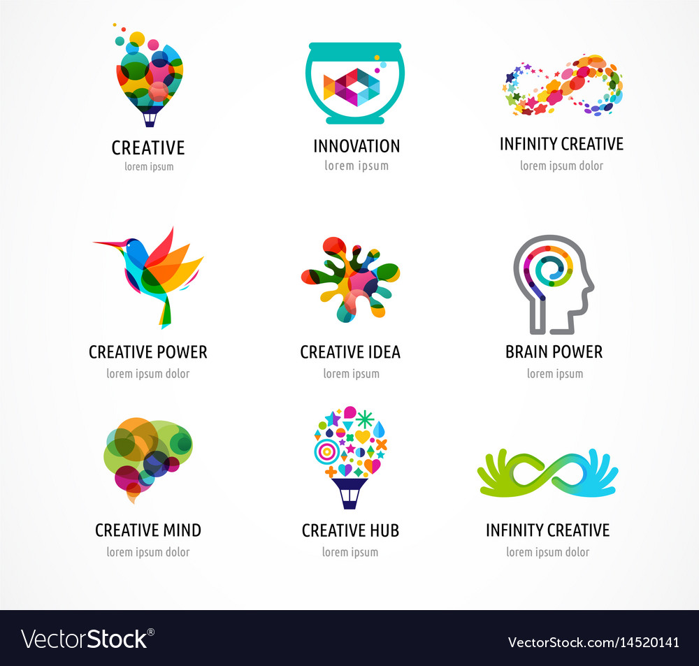 Creative digital abstract colorful logos vector image
