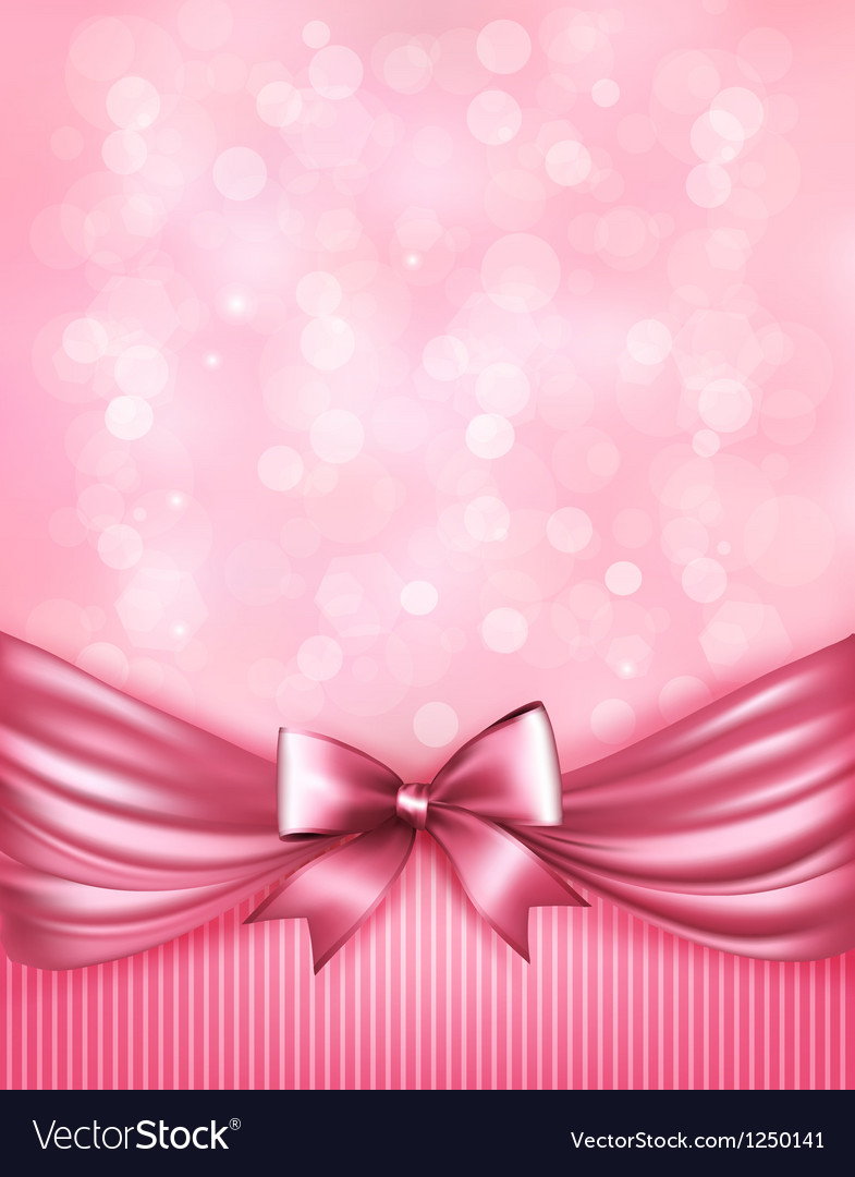 Holiday pink background with gift glossy bow and