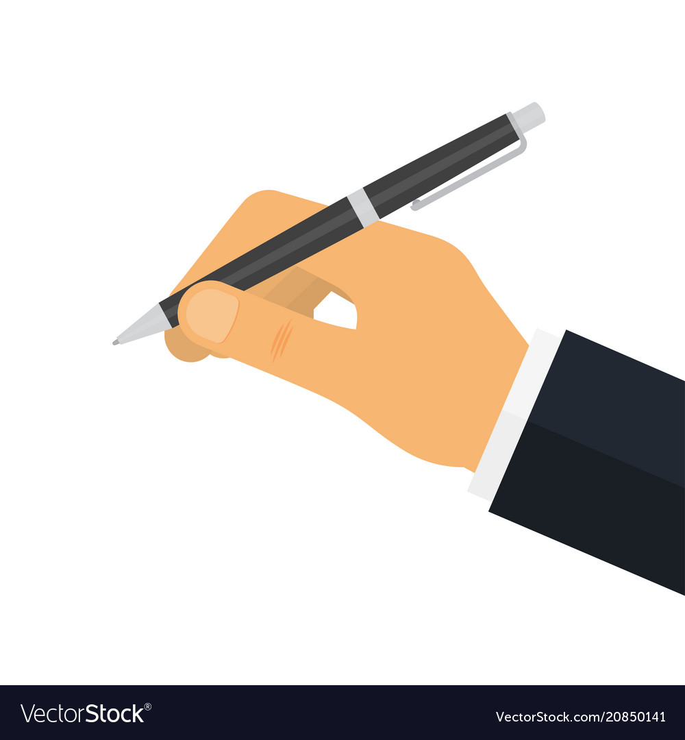 Man holds a pen for writing
