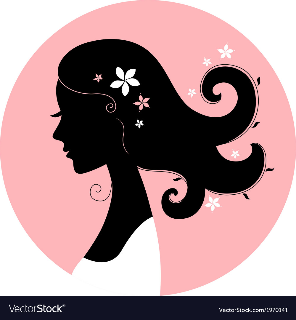 Romance girl floral silhouette in pink circle Vector Image