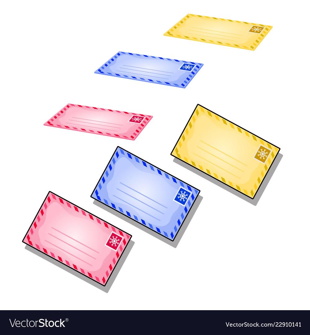 Set flying envelopes isolated on a white