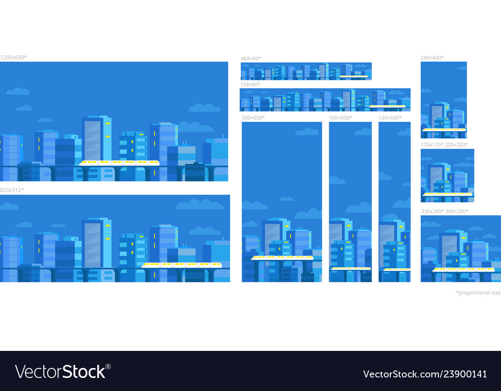 Set web banners template panorama city on the