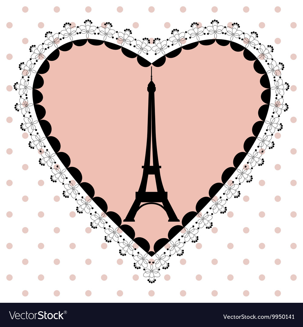 The Eiffel Tower in the frame of hearts