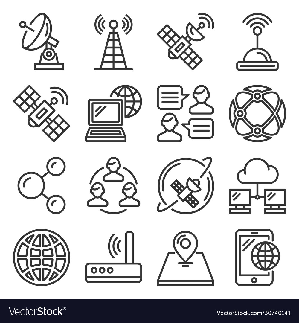 Wireless communications and satellite icons set on