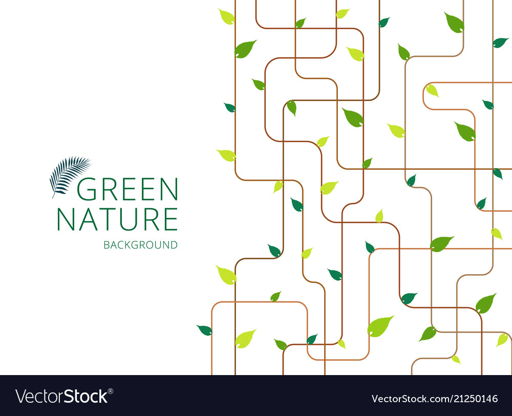 Abstract brown lines with green leaves on white