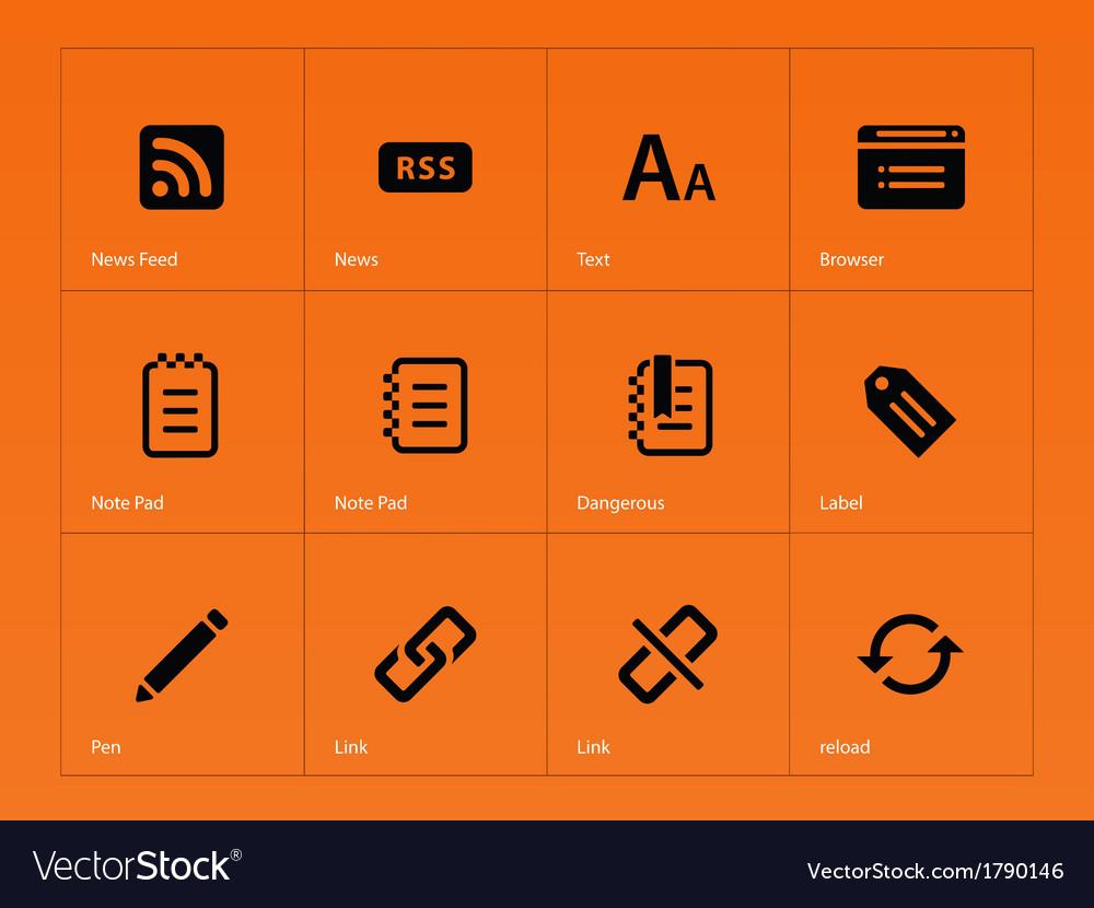 Blogger icons on orange background
