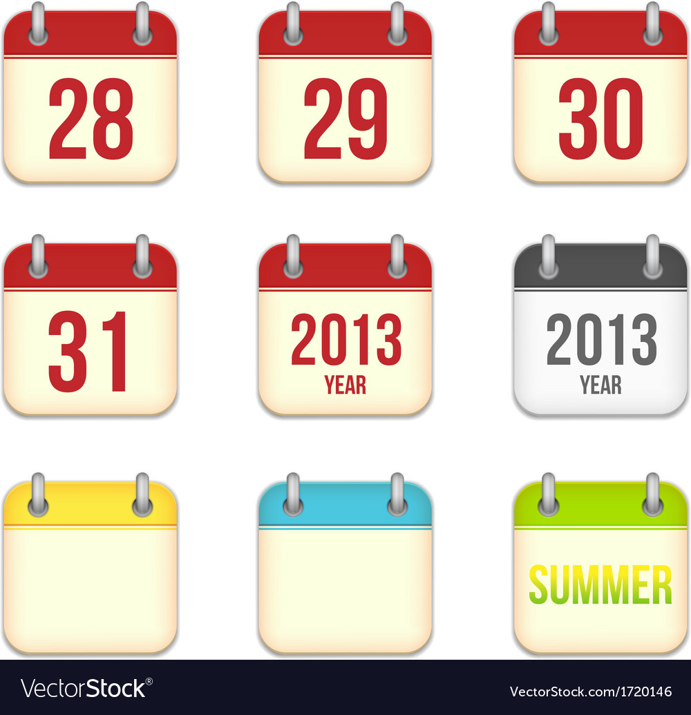 Calendar app icons 28 to 31 days and blank sheets