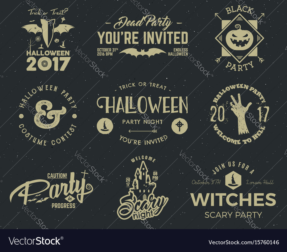 Halloween 2017 party label templates with scary