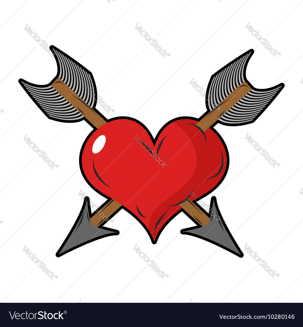 Heart and arrow Two arrows pierced sign of love vector image