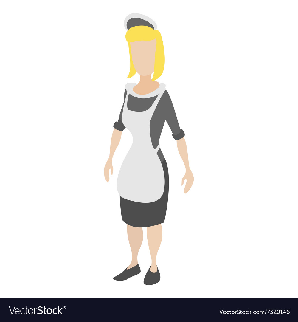 Housekeeper woman cartoon icon vector image