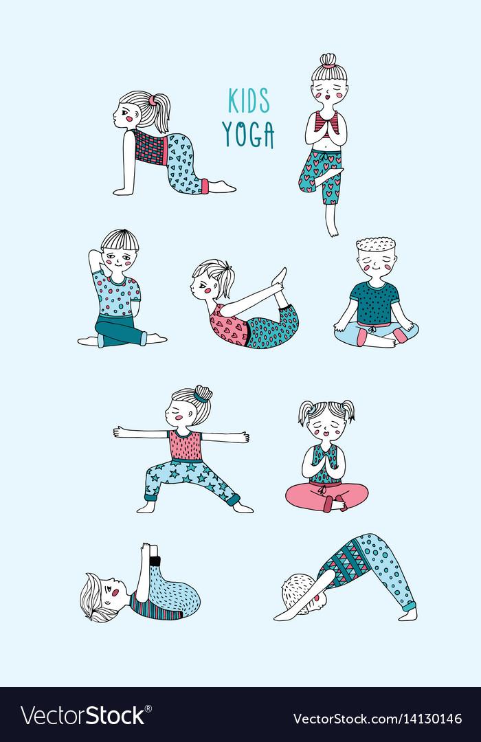 Kids yoga set children perform exercises asanas