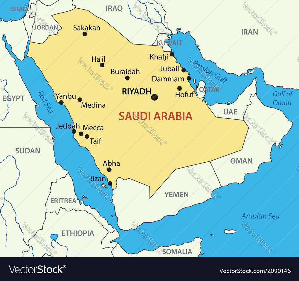 Map of the Kingdom of Saudi Arabia showing its 13 provinces ...