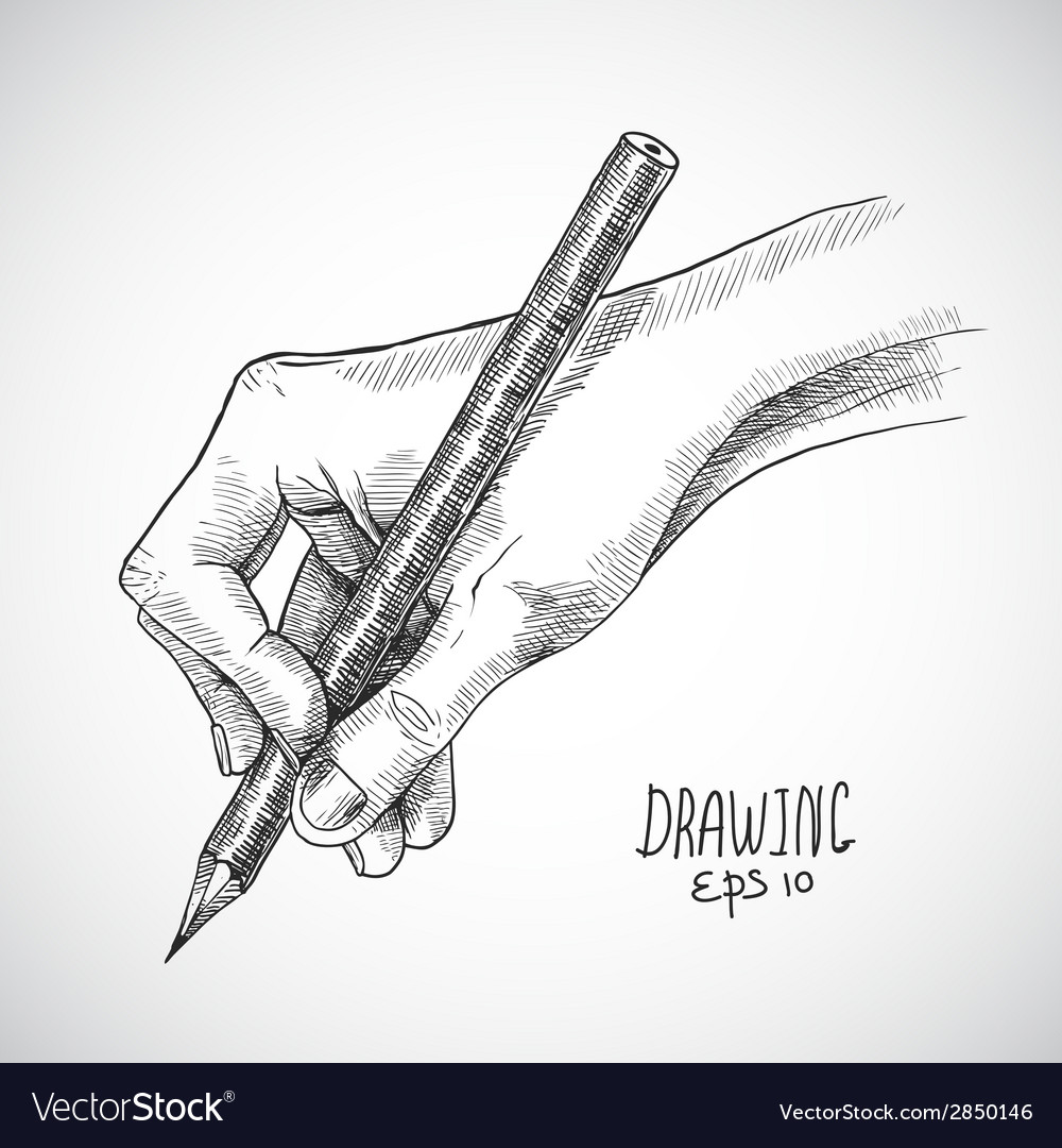 Sketch hand pencil vector image