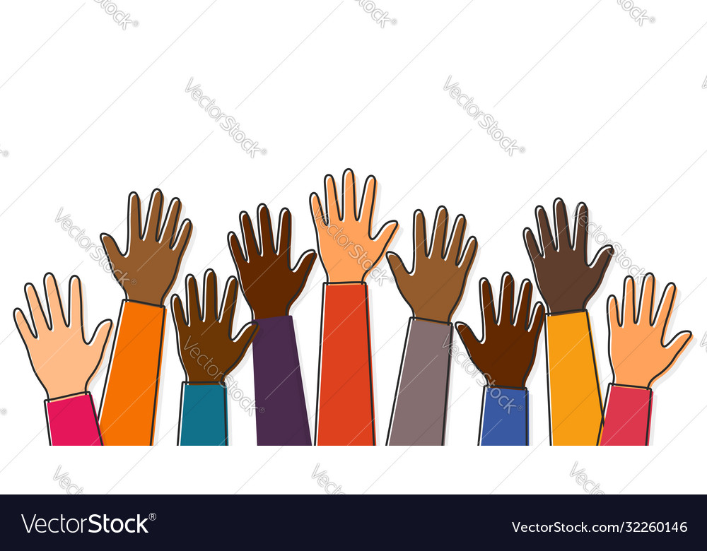 Stop racism black lives matter raised up hands