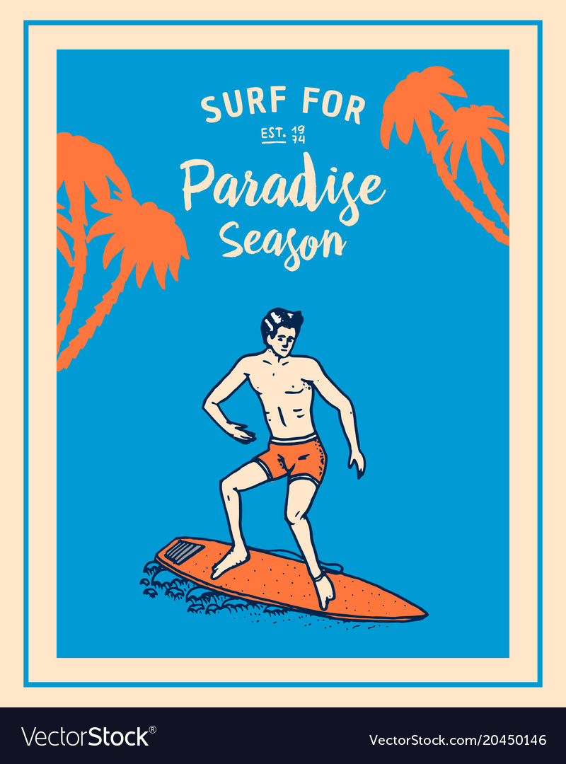 Surf badge wave and ocean vintage retro
