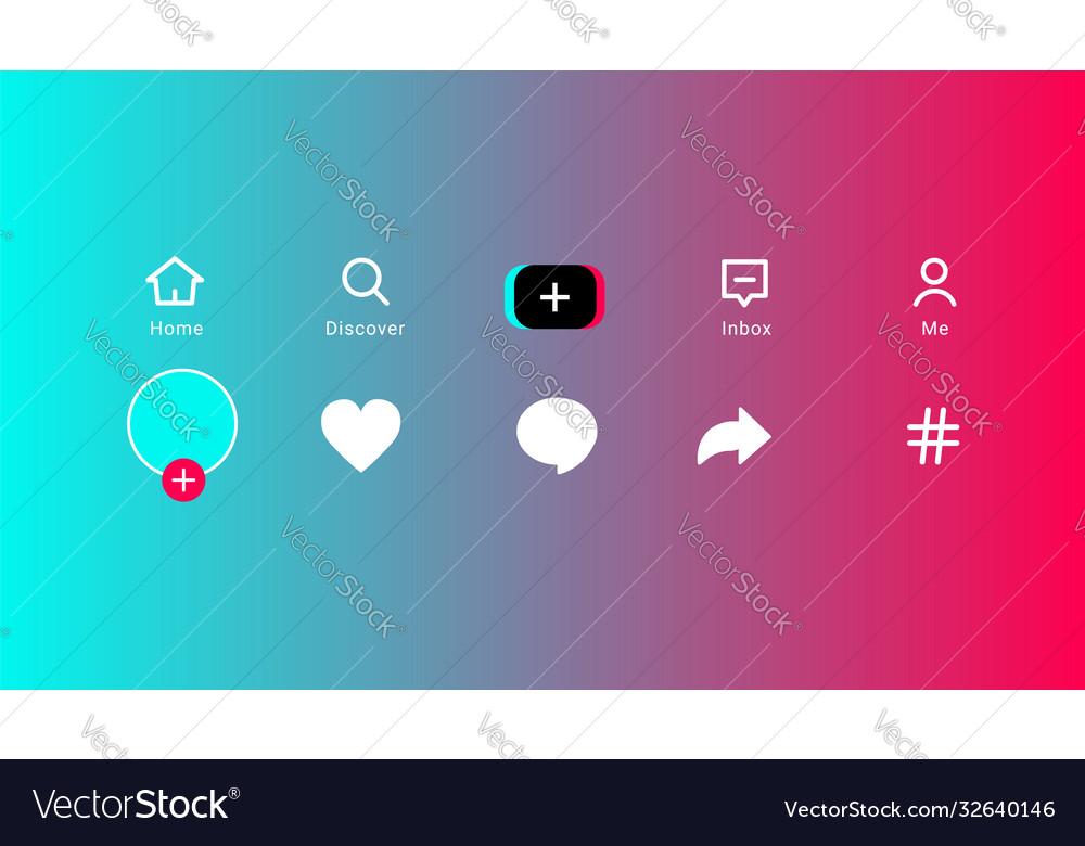 Tiktok color icon app social media template on