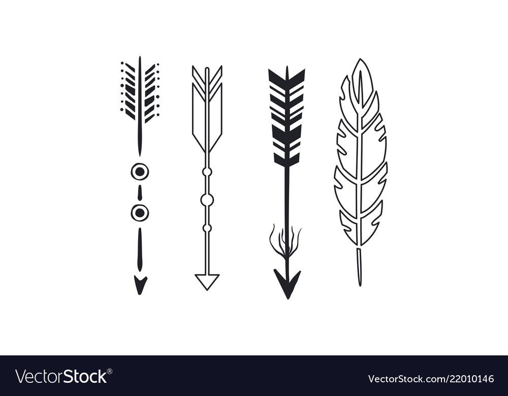 Tribal arrows set black vintage arrows and