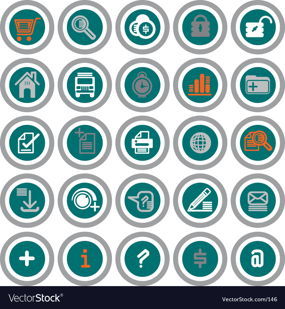 Web icons circles vector image