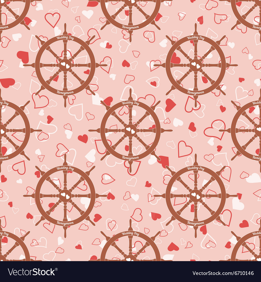 Wedding seamless pattern with steering wheel with