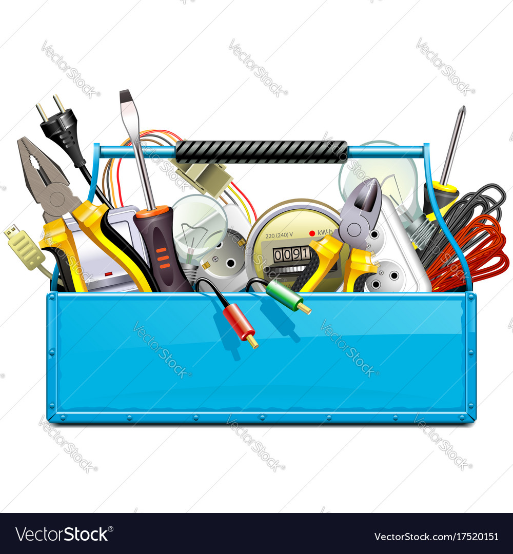 Blue toolbox with electric tools vector image