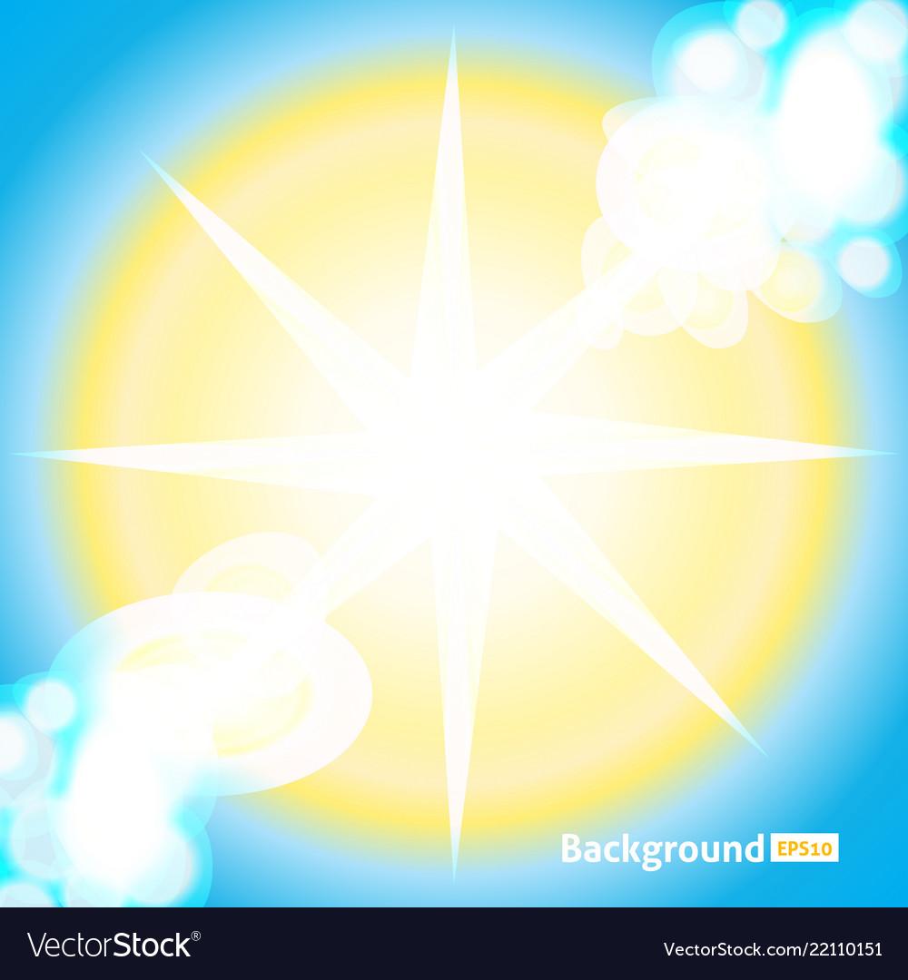 Bright sun rays background sunny