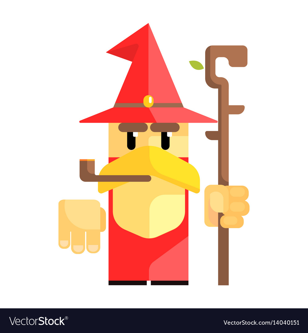 Cartoon garden gnome with smoking pipe fairy tale