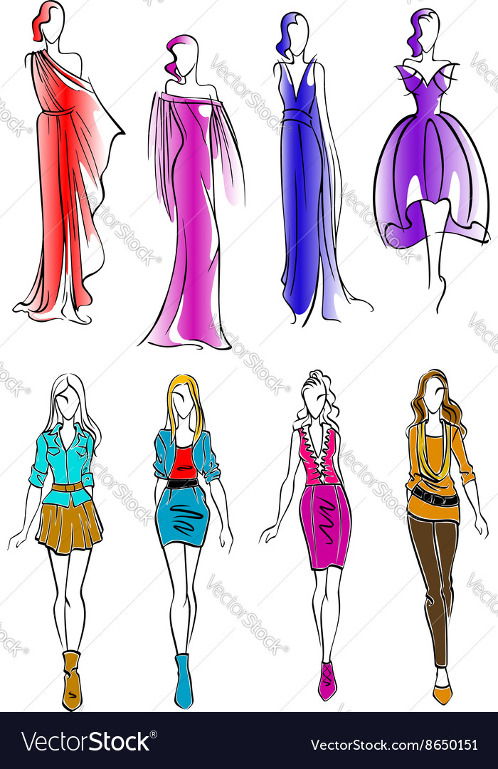 f1761841b9879 Colorful silhouettes of women in casual outfits Vector Image
