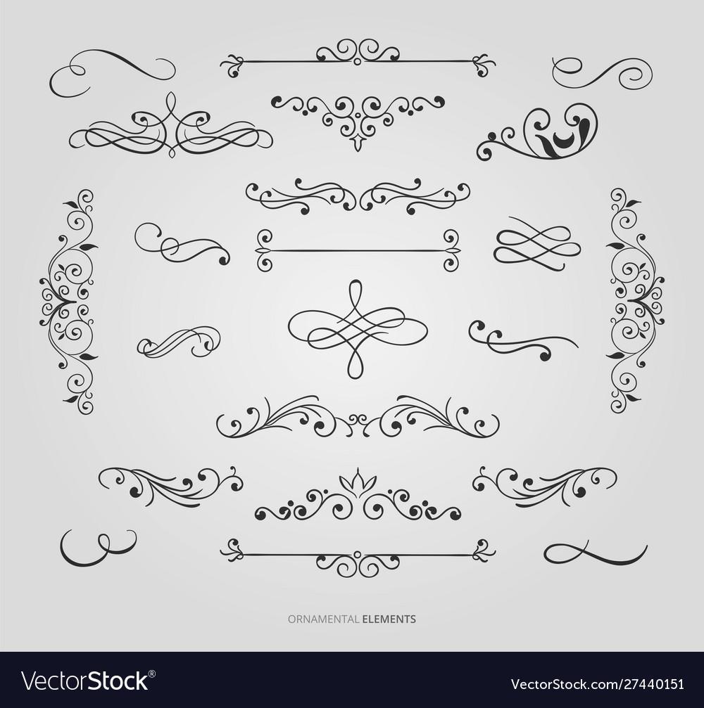 Decorative floral borders set