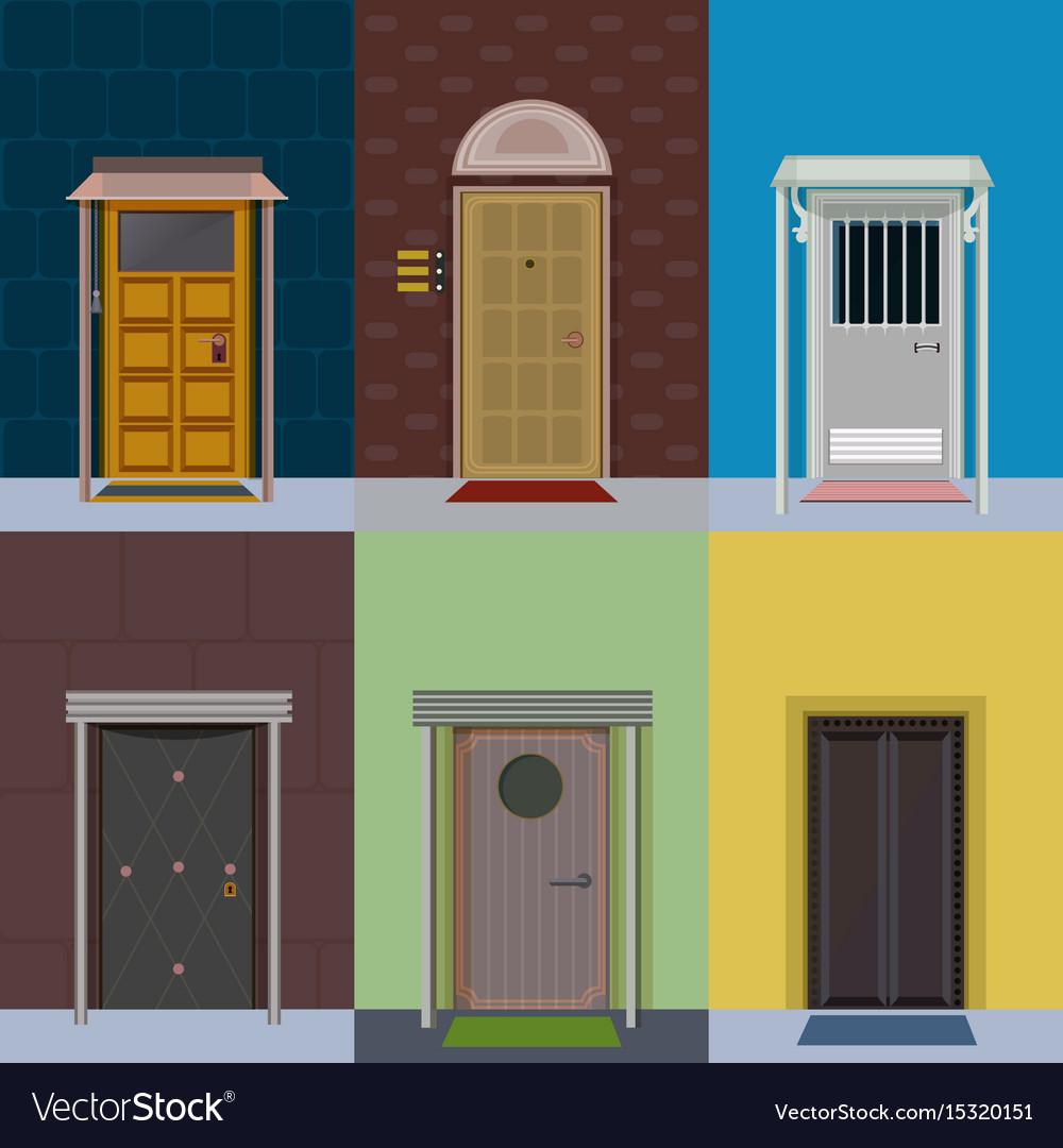 Flat Colorful Elegant Entry Doors Set Royalty Free Vector