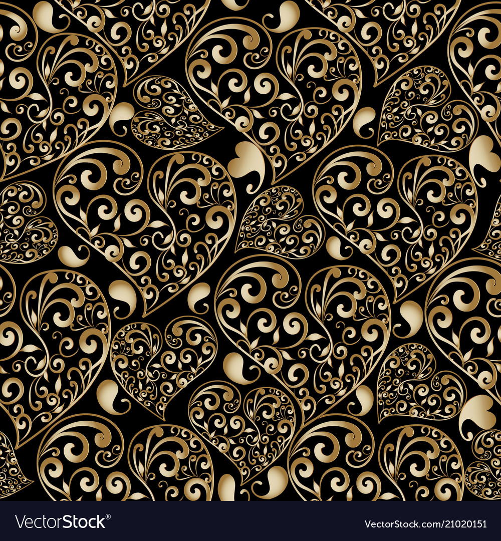 Gold floral love hearts seamless pattern