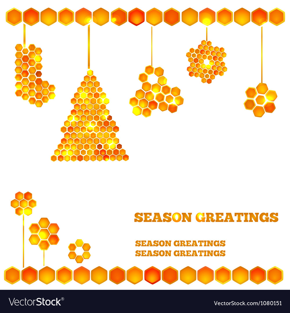 holiday card with christmas honey icons royalty free vector