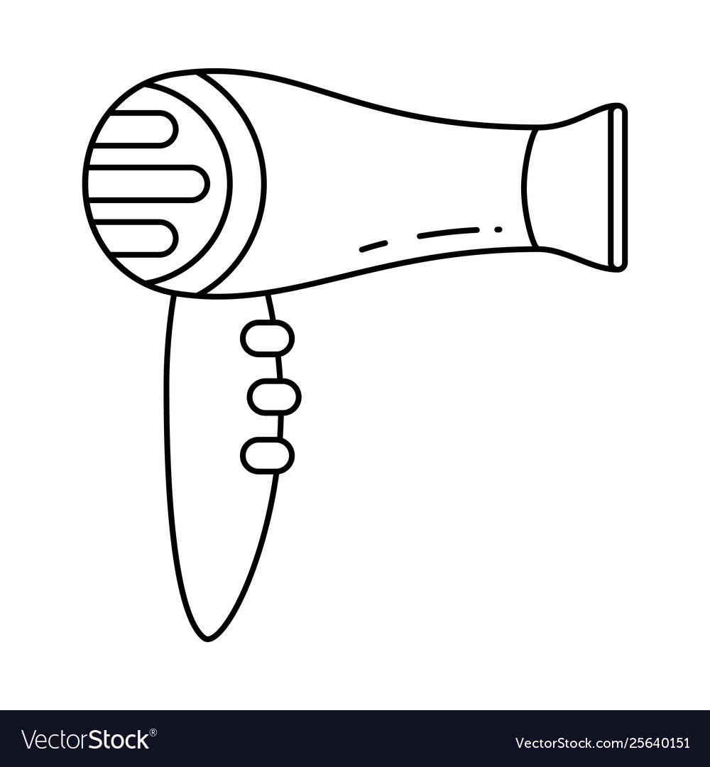 Line Art Hair Dryer With Concentrator Nozzle Vector Image