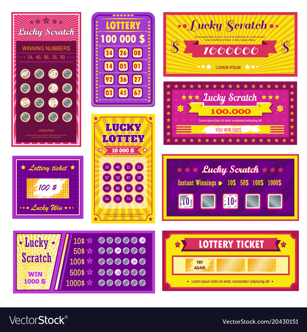 Lottery tickets lucky scratch bright glossy vector image