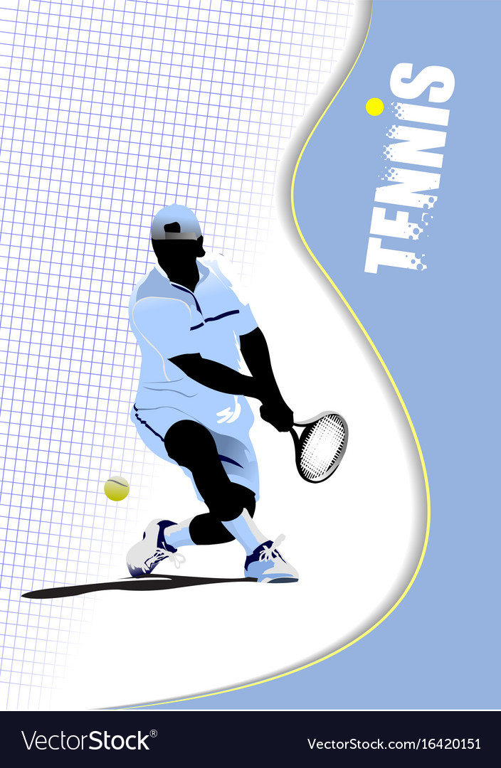 Poster tennis player colored for designers